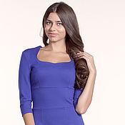 Одежда ручной работы. Ярмарка Мастеров - ручная работа 102: облегающее платье синее, повседневное платье с высокой талией. Handmade.