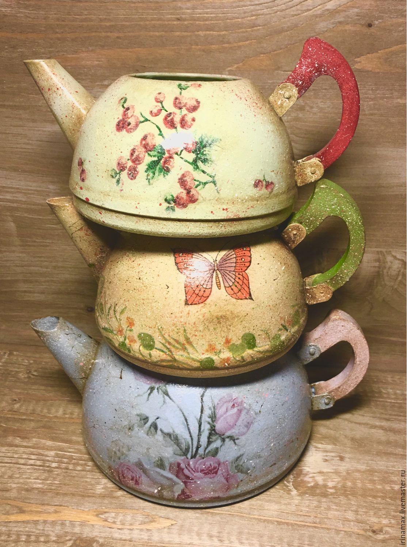 Цветочные чайнички вазочки