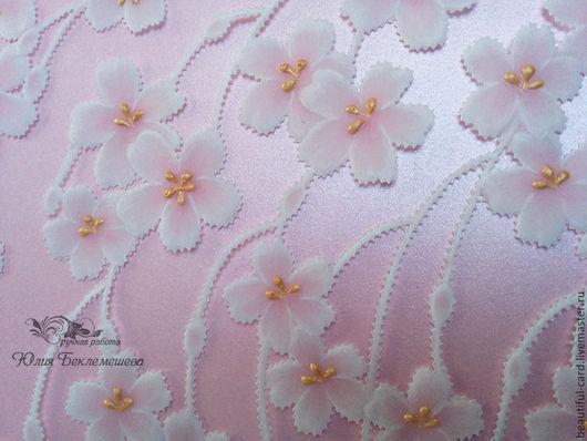 Открытки для женщин, ручной работы. Ярмарка Мастеров - ручная работа. Купить Открытка с сакурой очень нежная. Handmade. Розовый