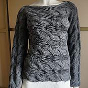 Одежда ручной работы. Ярмарка Мастеров - ручная работа Джемпер р.42-46 серый шерстяной. Handmade.