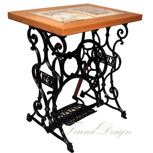 Мебель ручной работы. Ярмарка Мастеров - ручная работа. Купить Столик из бука со стеклом на станине от швейной машины Kayser. Handmade.