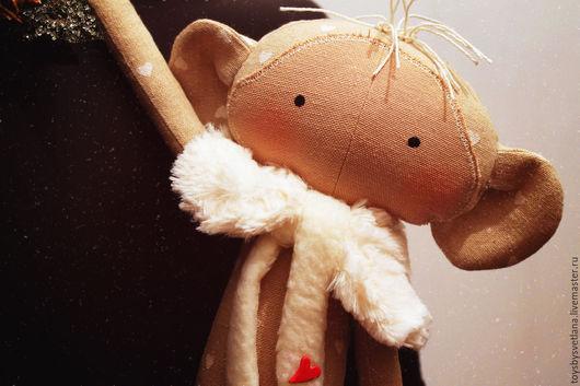 Игрушки животные, ручной работы. Ярмарка Мастеров - ручная работа. Купить Тильда обезьянка Варвара. Handmade. Бежевый, новогодний сувенир