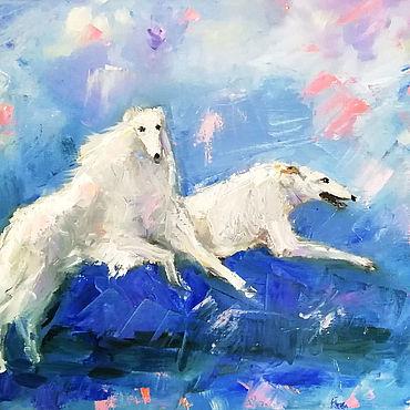 Картины и панно ручной работы. Ярмарка Мастеров - ручная работа Бегущие борзые Картина маслом собаки. Handmade.