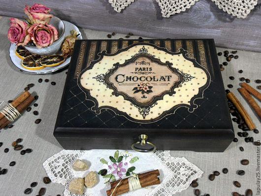 """Кухня ручной работы. Ярмарка Мастеров - ручная работа. Купить """"Горький шоколад"""" чайная шкатулка из бука. Handmade. Чайная коробка"""