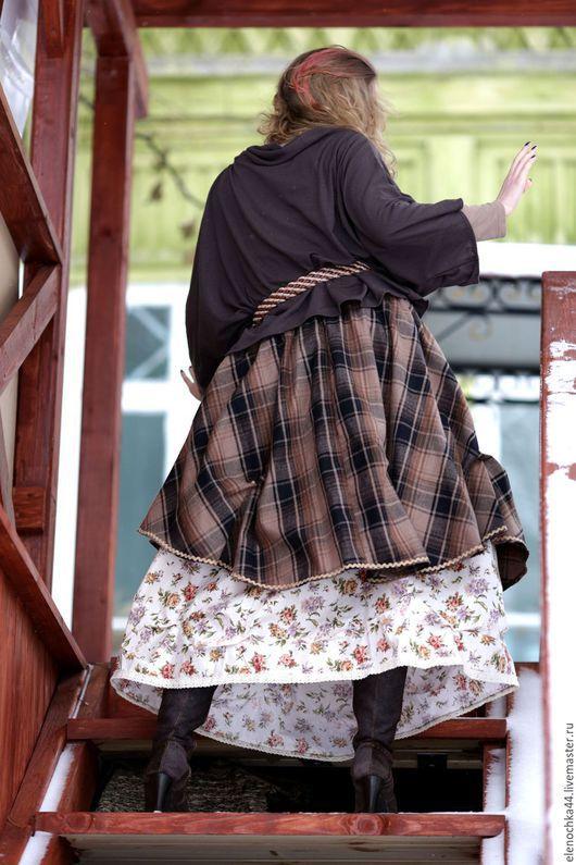 """Юбки ручной работы. Ярмарка Мастеров - ручная работа. Купить Длинная бохо юбка """"Финская"""". Handmade. Коричневый, пышная юбка"""