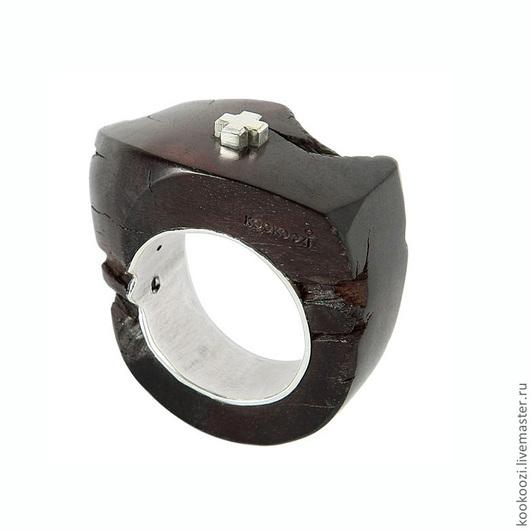 """Кольца ручной работы. Ярмарка Мастеров - ручная работа. Купить Кольцо """"BLACKWOOD3"""". Handmade. Серебро, дерево, крестик, чёрное дерево"""