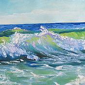 """Картины и панно ручной работы. Ярмарка Мастеров - ручная работа Картина маслом """"Море волнуется"""". Handmade."""