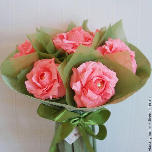 Букеты ручной работы. Ярмарка Мастеров - ручная работа. Купить Конфетный букет из роз. Handmade. Розовый, подарок на день рождения