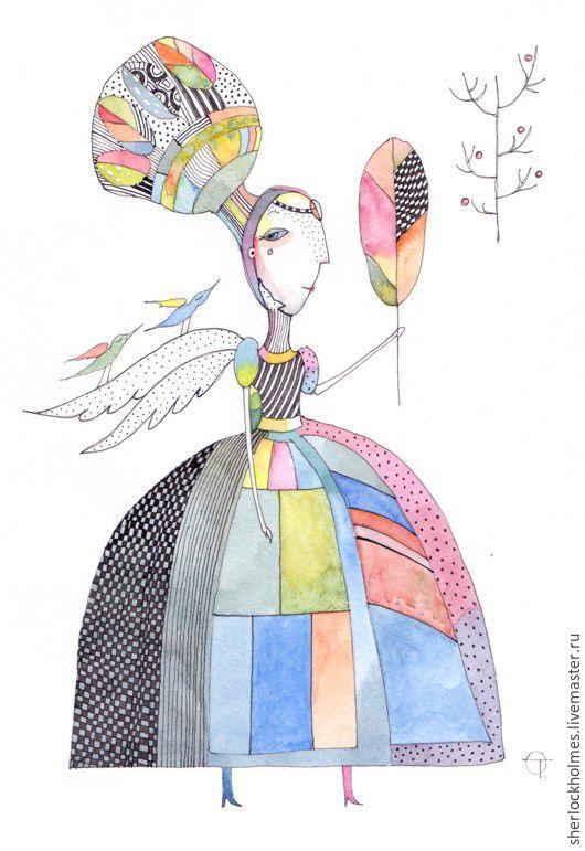 Фантазийные сюжеты ручной работы. Ярмарка Мастеров - ручная работа. Купить Fairy. Handmade. Комбинированный, картина в подарок, картина в детскую