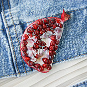 Украшения handmade. Livemaster - original item Brooch red garnet polymer clay. Handmade.