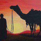Картины и панно ручной работы. Ярмарка Мастеров - ручная работа Картина Закат в пустыне. Handmade.