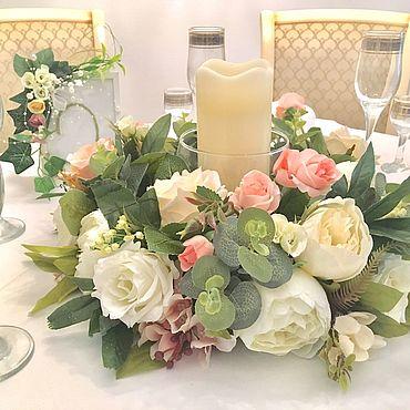 Свадебный салон ручной работы. Ярмарка Мастеров - ручная работа Цветочная композиция на стол для гостей. Handmade.