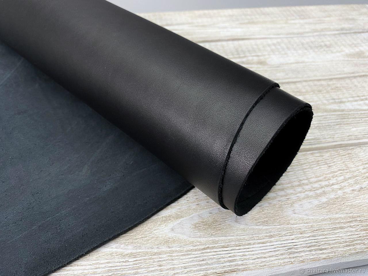 Натуральная кожа 1.4-1.6 мм Black-3, Кожа, Оренбург,  Фото №1