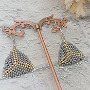 handmade. Livemaster - original item Classic earrings: beaded Triangle grey. Handmade.