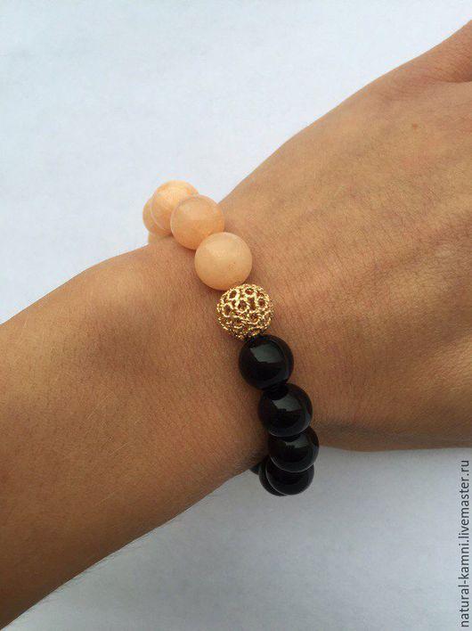 Браслеты ручной работы. Ярмарка Мастеров - ручная работа. Купить Черно-персиковый агатовый браслет. Handmade. Комбинированный, стильный браслет
