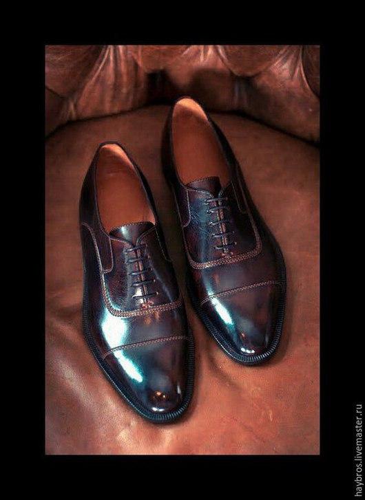 Обувь ручной работы. Ярмарка Мастеров - ручная работа. Купить Мужские туфли-оксфорды O-15. Handmade. Коричневый