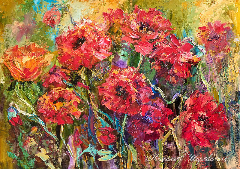 Picture with poppies 'Wild Blossom' painting poppies, Pictures, Voronezh,  Фото №1