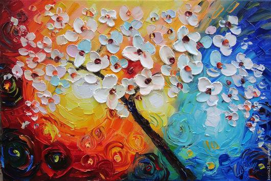 Абстракция ручной работы. Ярмарка Мастеров - ручная работа. Купить Картина маслом по мотиву работы из интернета  Цветущее дерево. Handmade.