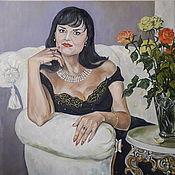 Картины и панно handmade. Livemaster - original item Woman portrait photo in interior with oil on canvas, 50h60 cm. Handmade.