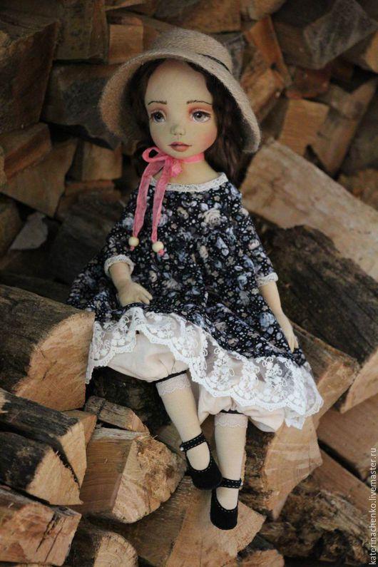 Коллекционные куклы ручной работы. Ярмарка Мастеров - ручная работа. Купить Текстильная кукла, Кити. Handmade. Серый, кукла интерьерная