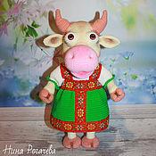 Куклы и игрушки handmade. Livemaster - original item Soft toys: Glasha`s Cow. Symbol 2021. Cow knitted. Handmade.