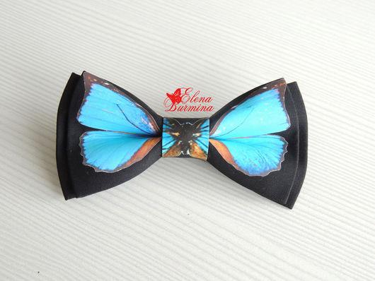 Галстуки, бабочки ручной работы. Ярмарка Мастеров - ручная работа. Купить Бабочка галстук с голубой бабочкой, хлопок. Handmade. Голубой