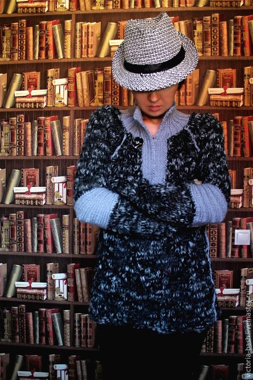 """Кофты и свитера ручной работы. Ярмарка Мастеров - ручная работа. Купить Вязаный пуловер унисекс """"Суровый"""". Handmade. Чёрно-белый"""