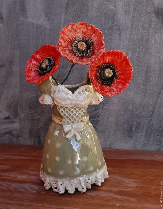 """Вазы ручной работы. Ярмарка Мастеров - ручная работа. Купить Вазочка фарфоровая """"Платье с маками"""". Handmade. Ваза, ваза для цветов"""