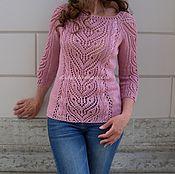 Одежда ручной работы. Ярмарка Мастеров - ручная работа Джемпер вязаный  ажурный  ЛЁН-ХЛОПОК пуловер женский ажурный. Handmade.