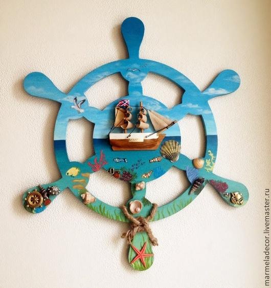 """Детская ручной работы. Ярмарка Мастеров - ручная работа. Купить Панно Штурвал """"Море"""". Handmade. Разноцветный, морская волна, корабль"""