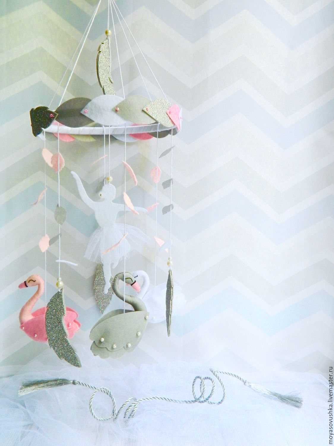 The mobile in the crib felt - Swan lake, Toys for cribs, Moscow,  Фото №1