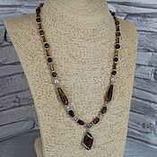 Украшения handmade. Livemaster - original item Necklace with tiger`s eye pendant and mother of pearl. Handmade.