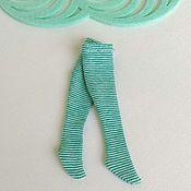 Одежда для кукол ручной работы. Ярмарка Мастеров - ручная работа Чулочки для блайз в бирюзовую полоску. Handmade.