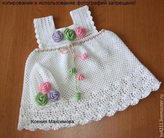 """Одежда для девочек, ручной работы. Ярмарка Мастеров - ручная работа. Купить платье """"Очарование белого"""" связан крючком из хлопка сарафан. Handmade."""
