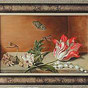 Картины ручной работы. Ярмарка Мастеров - ручная работа Картина маслом на холсте Натюрморт с тюльпаном. Handmade.