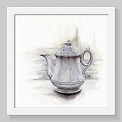 Картины и панно handmade. Livemaster - original item Watercolor painting. Teapot. White series. Handmade.