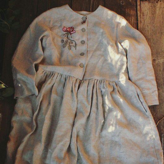 """Платья ручной работы. Ярмарка Мастеров - ручная работа. Купить Платье """"Vintage rose"""". Handmade. Серый, лён, чешский бисер"""