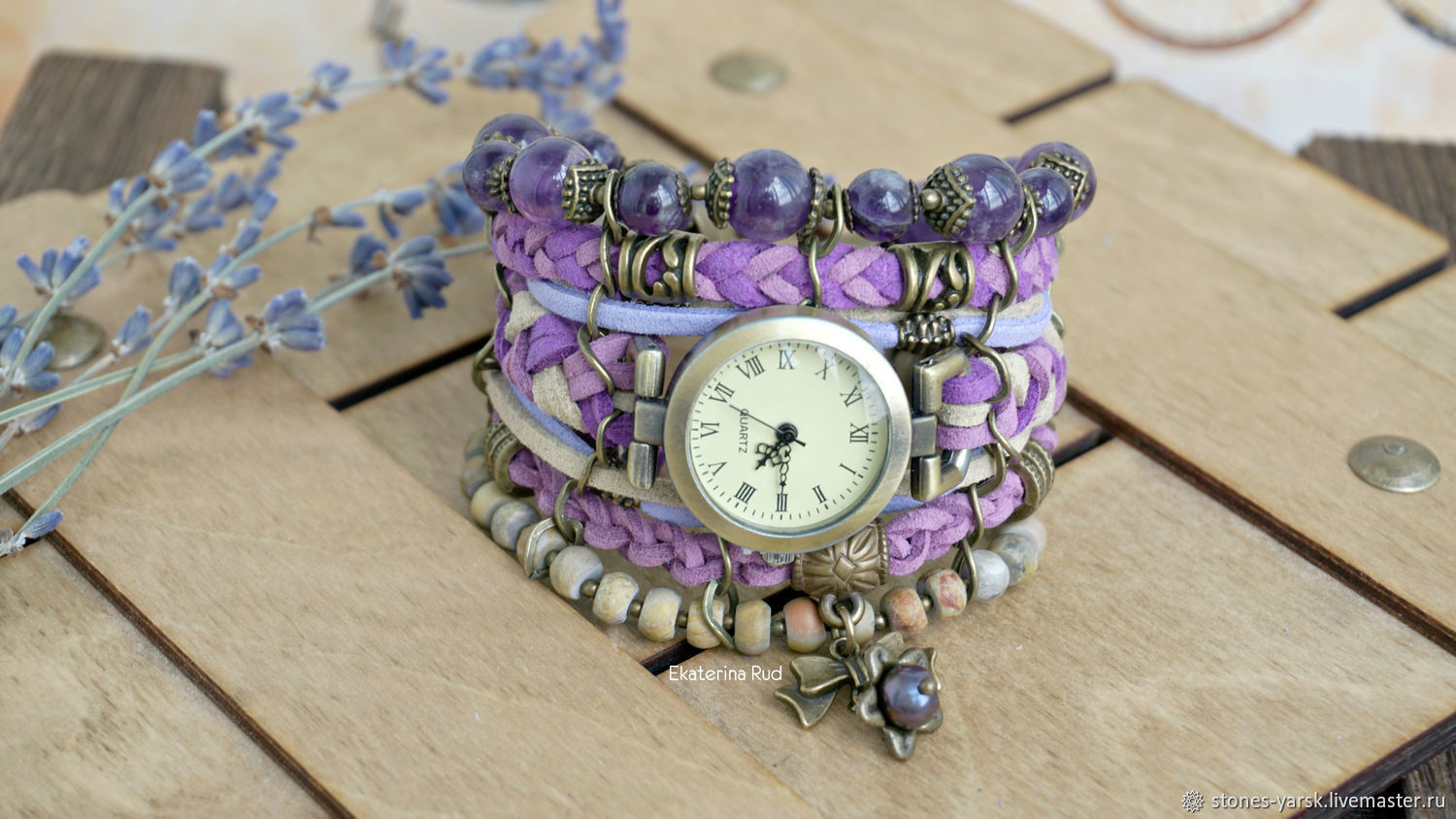 Boho style watch with amethysts and Jasper ' Minutes of Provence', Watches, Moscow,  Фото №1