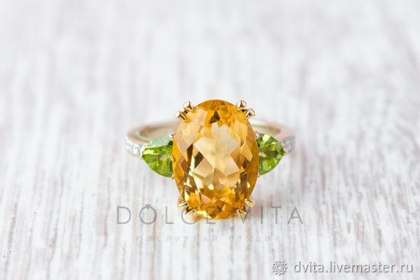 Золотое кольцо с цитрином , хризалитами и бриллиантами, Кольца, Санкт-Петербург,  Фото №1