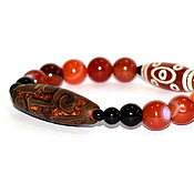 Украшения handmade. Livemaster - original item Carnelian and agate bracelet with DZI nine eyes beads. Handmade.