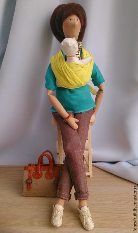 Куклы Тильды ручной работы. Ярмарка Мастеров - ручная работа. Купить Кукла текстильная Слингомама (слинг-шарф). Handmade. Кукла
