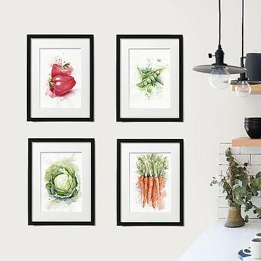 """Картины и панно ручной работы. Ярмарка Мастеров - ручная работа Картины """"Овощи акварелью"""" квадриптих. Handmade."""