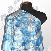 """Аксессуары ручной работы. Ярмарка Мастеров - ручная работа Шелковый шарф  """"Голубые лилии 3"""". Handmade."""