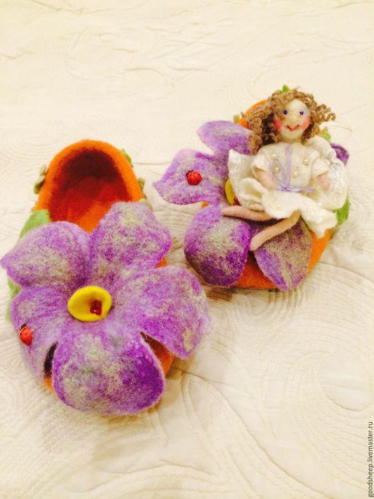 """Обувь ручной работы. Ярмарка Мастеров - ручная работа. Купить Тапки для девочки валяные """"Маленькая принцесса"""". Handmade. Тапки валяные"""
