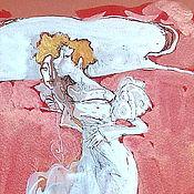 """Картины и панно ручной работы. Ярмарка Мастеров - ручная работа """"У меня есть тайна ил коломбина в красных тонах"""".. Handmade."""