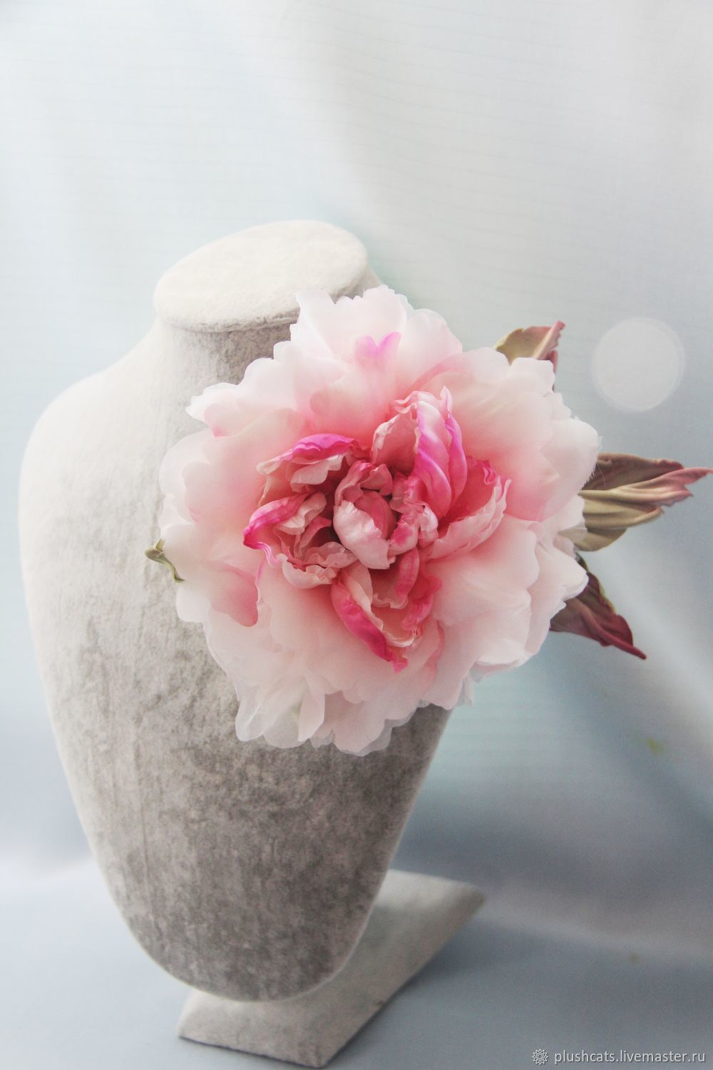 Brooch peony silk, Brooches, Moscow,  Фото №1