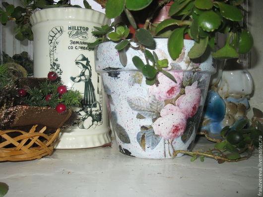"""Цветочные горшки ручной работы. Ярмарка Мастеров - ручная работа. Купить """"Винтажные розы"""". Handmade. Бледно-розовый, горшочки"""