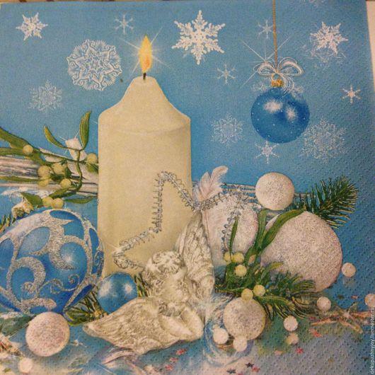 Салфетка для декупажа - Новый год - Нежная свеча и композиция Декупажная радость