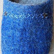 """Обувь ручной работы. Ярмарка Мастеров - ручная работа Тапочки мужские """"Blue-Grey"""". Handmade."""