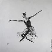 """Картины и панно ручной работы. Ярмарка Мастеров - ручная работа Балерина """"Полет"""" Девушка На белом фоне RKV. Handmade."""